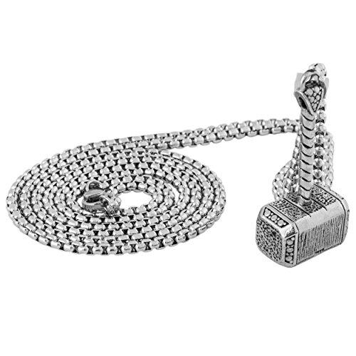 Akitsune Malleum Anhänger inkl. 90cm Kette | Halskette Frauen Herren Edelstahl Hammer Mjölnir Thor - Silber