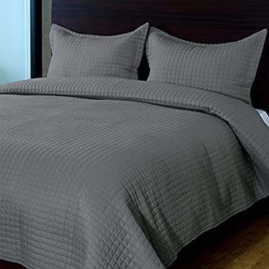 Raintree 3-Piece Lightweight & Breathable Super Soft Bedding Coverlet Set - Great Quality Hypoallergenic Microfiber Bedspread Cover Set, Dark Grey, Queen