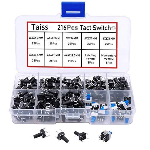 Taiss 216 interruptores táctiles momentáneos, 10 valores, 4 pines, 6 x 6 mm, micromomentáneos, con interruptor de 7 x 7 mm y interruptor de actualización QC-6 x 6 mm.