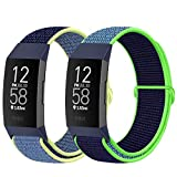 AVOD Nylon Watch Bands Compatible with Fitbit Charge 4/Charge 3/SE, Soft Replacement Wristband Breathable Sport Strap with Band for Women Men (Ice Cyan+Neon Lime)