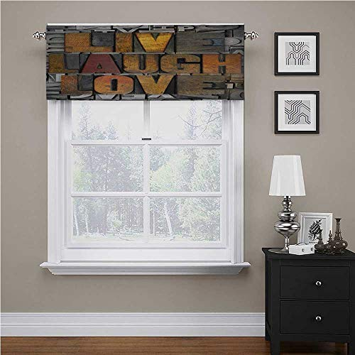 """Live Laugh Love Thermal Insulated Curtain Valance Saying Promoting The Sacred Values of Human Life in Colorful a Pattern Tailored Scalloped Valance/Swags Multicolor, 42"""" x 18"""""""