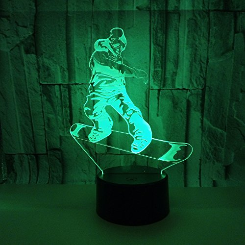 3D Snowboard LED Nachtlampje 16 Kleur Veranderende USB Touch Tafellamp Slaapkamer Winkel Bar Decoratie Lamp Kinderen Cadeau