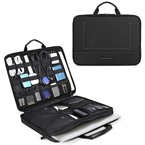 bagsmart Elektronik Zubehör Organizer Tasche Laptoptasche mit Tabletfach für 15 Zoll MacBook, 13,3 Zoll Laptop, 12.9 Zoll Tablet, Kabel, Ladegerät, Netzteil, Maus, Powerbank, Schwarz