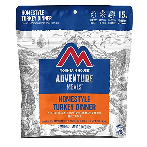 Mountain House Homestyle Turkey Dinner | Freeze Dried Backpacking & Camping Food | 2 Servings