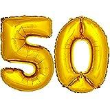DekoRex® Folienballon Zahlenballon Luftballon Geburtstag Deko 40cm Gold Zahl: 50