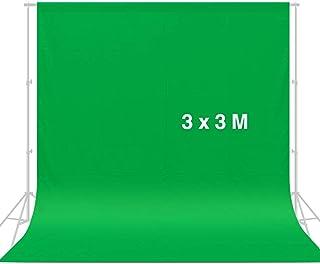 CRAPHY 3 m x 3 m Pantalla de Fondo Verde, Chromakey Muselina Telón de Fondo Verde para Estudio Fotografía de Foto Video (Sin Soporte)