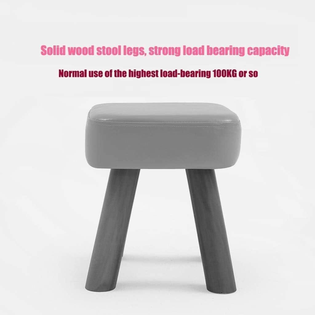 LXZSP Changement de Banc de Chaussures Tabouret Bas Tabouret créatif en Cuir PU Production de Bois Massif Chaise carrée Tabouret ménage Multifonction pour Salon 1