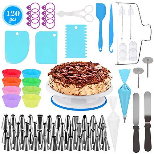 Tortendekoration Set 120 PCS,Backen Gebäck Werkzeuge, Kuchen rotierenden Drehteller, Kuchen dekorieren Kits, Muffin Cup Formen, ideal für Anfänger und Kuchenliebhaber-Backen Werkzeuge