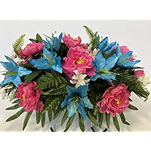 Spring Cemetery Flowers for Headstone and Grave Decoration-Pink Rose White Daisy Mix Saddle