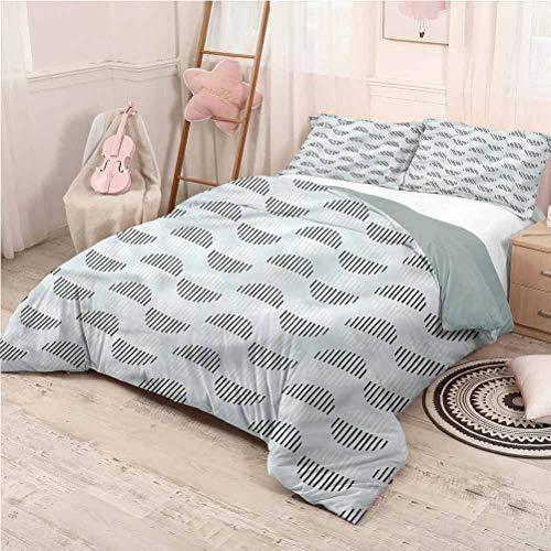 Pale Blue Bed Sheets Set California King, Microfiber Sheet Set 3 Piece Bed Sheets Striped Spots Geometric Comfortable Hotel Bedding - California King 104'x98'