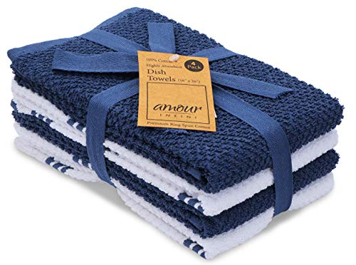 AMOUR INFINI Terry Dish Towel   Set of 4   16 x 26 Inches   Super Soft and Absorbent  100% Cotton Dishtowels   Perfect for Household and Commercial Uses   Blue