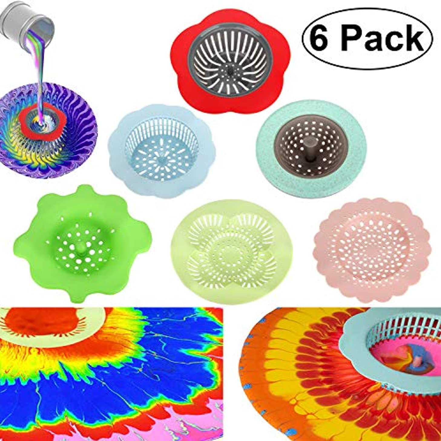 Colovis Acrylic Pouring Strainers with 6 Different Types, Plastic Silicone Acrylic Pouring Art Supplies for Acrylic Pouring Art Workers DIY Unique Original Artwork