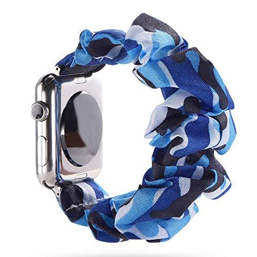 juanxian - Cinturino Elastico di Ricambio per Apple Watch, Morbido ed Elastico, Compatibile con iWatch Series1-5 (38 mm, 40 mm, 42 mm, 44 mm), Camouflage Blu Scuro, 38mm/40mm