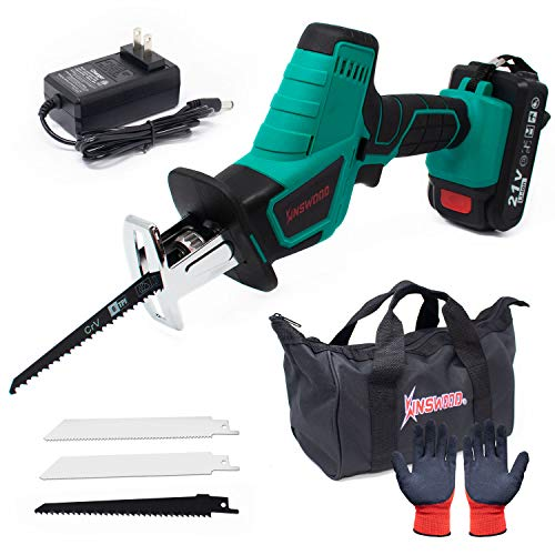 Kinswood 21V MAX 1.3A Reciprocating Saw w/Lithium-ion Battery Blades & ToolBag