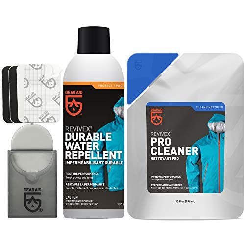 GEAR AID Care Kit with Revivex Pro Cleaner, Revivex Durable Water Repellent Spray and Tenacious Tape Mini Patches, Clear, 10 fl oz Pack & 10.5 oz aerosol