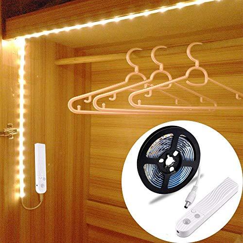 Haovida 60LED 1m tira luz cuerda,Luz Armario Luz LED Nocturna con Sensor de Movimiento para Pasillo Baño Armario Cocina(funciona con 4 pilas AAA, No Incluidas) [4000K Blanco cálido ]