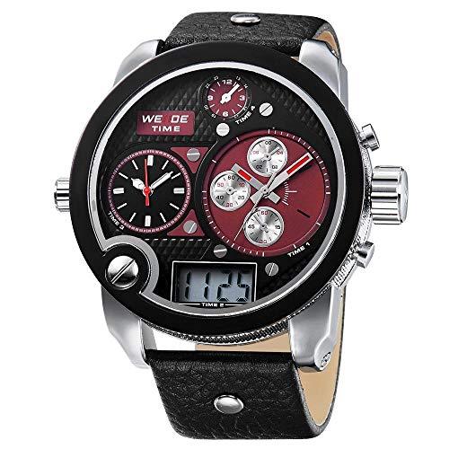 CursOnline Elegante reloj de pulsera para hombre niño Weide 2305 XXL Oversized triple horario analógico y digital Big Size Water Resistant, calendario, correa de piel auténtica, luz LED. Color: rojo.
