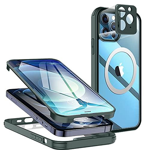 Neeliup Antigolpes Funda para iPhone 12 con Templado Pantalla y Cámara Proteccion, Transparente mag-Safe Carcasa & TPU 360 Proteccion Case Compatible iPhone 12 - Verde