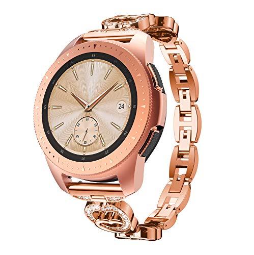 Aresh Compatible Samsung Galaxy Watch (42mm) Bands, Women Crystal Rhinestone 20mm Bracelet Replacement Strap for Samsung Galaxy Watch (42mm) SM-R810 (X-Rose Gold)