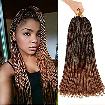 Lviolet 6Packs 18inch 30stands/pack Senegalese Twist Crochet Braids5 Colors Avaliable for Black Women High Temperature Fiber Synthetic Braiding Hair Extensions  18inch,T27#