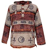 Guru-Shop Goa Kapuzenshirt, Baja Hoody Nepalhoodie, Herren, Cappuccino, Baumwolle, Size:M, Sweatshirts & Hoodies Alternative Bekleidung