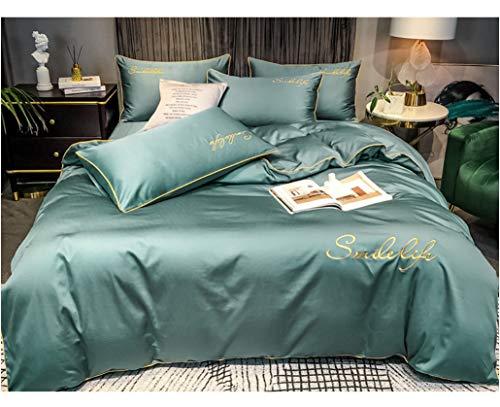 DUIPENGFEI 100S Satin Embroidery Bed 4-Piece Set, Pure Cotton Duvet Cover Set, Blue Gray, Set King 220X240Cm.