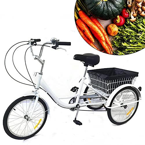 Triciclo para adultos de 20 pulgadas, color blanco, 8 velocidades, 3 ruedas, con cesta y lámpara, bicicleta de ciudad, deportes al aire libre