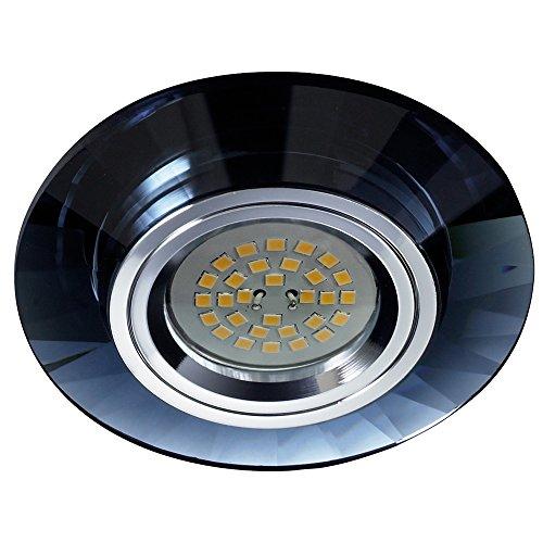 Empotrable de cristal circular Fijo, colección Luxor de Cristalrecord (Válido para Halógeno y Led) (Negro)