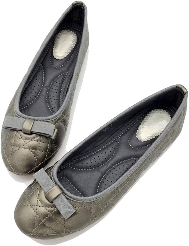 August Jim Woman Flats shoes,Anti-Slip Round Toe Comfortable Single shoes Black