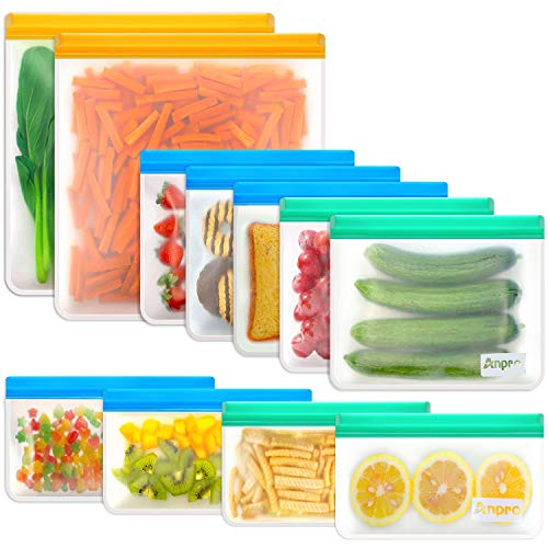 Reusable Food Storage Bags Sandwich - Anpro (11 Pack) Snack Bag for Kids with Double Zipper Seal...