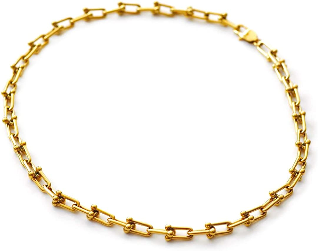 18K Gold Plated San Diego Popular brand Mall Hardwear Pinball Necklace U Linked Shaped Chain