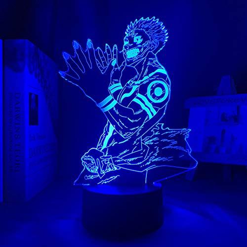 Regalos para niños lámpara anime Ryomen Sukuna luz Jiu-Jitsu Kaisen LED luz nocturna Jujutsu Kaisen Luz nocturna Ryom Decoración de dormitorio Luz de ambiente alta