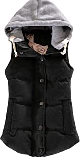 Macondoo Womens Hoodie Parkas Coat Sleeveless Jacket Cotton-Padded Outwear Vest