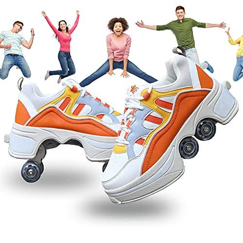 MQJ Patines de Rodillos 2 en 1 Zapatos de Deportes Multi de Skate en Línea con Cuatro Neumáticos Desmontables Antideslizantes para Adultos Zapatos Casuales Zapley Zapley Zapatos de Patines de Hielo,N