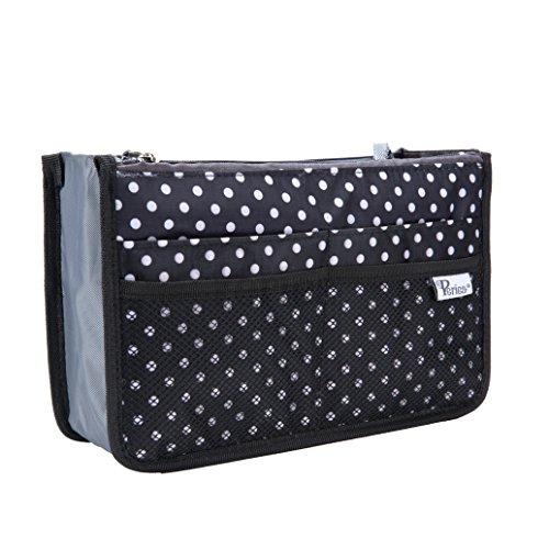 Periea Handtaschen-Organizer - Chelsy - 28 Farben erhältlich - Klein, Mittel & Groß (Schwarz mit Weißen Punkten, Klein)