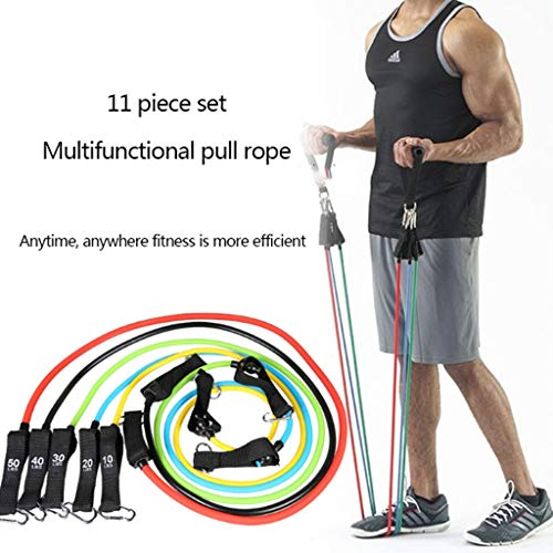 HUO FEI NIAO Widerstandsband Resistance Bands 11 Stück ,Stackable 150-pound Corn Buckle Training Multi-Function Home Rebound Group Rope