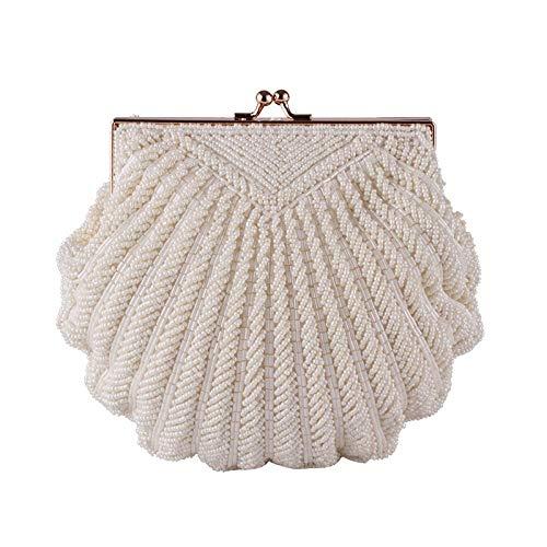 Umhängetasche Damen Clutch Damen Clutch Bag Abend Clutch Hochzeit Braut Tote Pearl Perlen Mode Shell Chain Party Bag Beige
