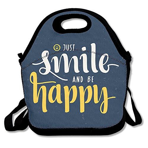 kkwodwcx sólo sonreír y ser feliz cita resistente al agua portátil Bolsa de transporte bolsa para el almuerzo enfriador de bolso con cremallera bolsas de comida Picnic al aire libre bolsa de viaje de moda bolso de mano para mujeres niños niñas
