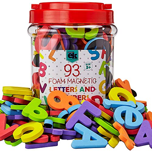 Magnetic Foam Letters and Numbers Premium Quality ABC, 93 Foam Alphabet Magnets   Educational Toy for Preschool Learning, Spelling, Counting in Canister