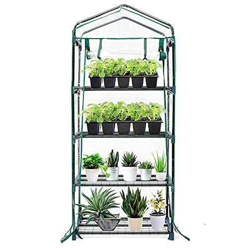 VSTAR66 4-Tier Mini Greenhouse with Roll-Up Zipper Door, Clear PVC Plant Greenhouse Cover for Gardening Plants , Portable Waterproof Garden Green House