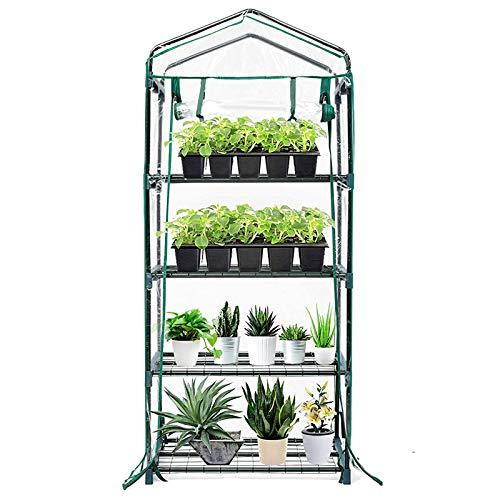 Babody Mini invernadero, cubierta de PVC transparente, 4 niveles, cubierta para casa caliente portátil, cubierta para jardín verde con cremallera, tienda de campaña impermeable (sin marco de hierro)