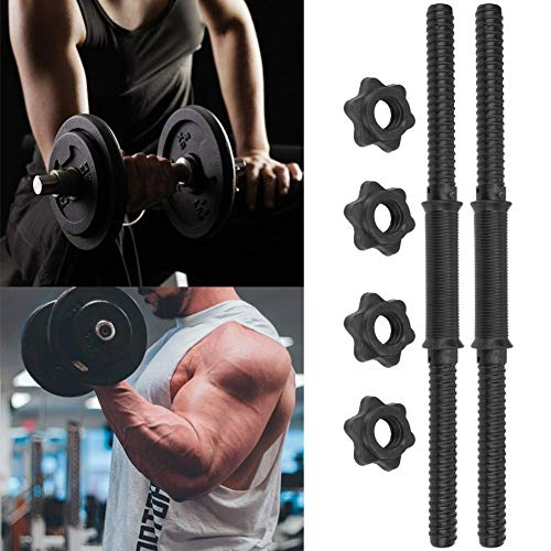 Hantelstangen 2er-Set 45x2.4cm, Krafttraining Stangen mit 4 Metall-Spinlock-Ringe Bequemer und stabiler Griff Gewichtheben Hantel obere Zugstange Aerobic-Training Fitness