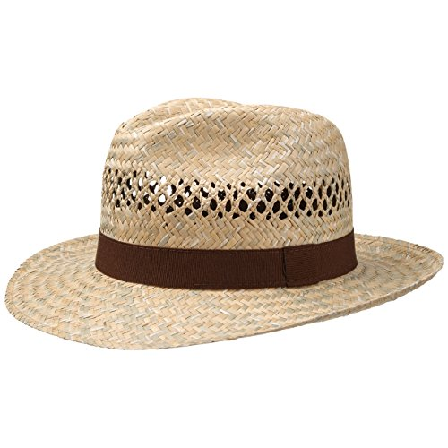 fiebig Strohhut Fedora mit braunem Ripsband | Sonnenhut für Herren & Damen aus 100% Stroh | Made in Italy | Sommerhut in vielen Größen | Farbe Natur (61)