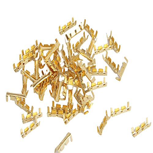 100 Stücke Auto Elektrische Steckverbinder Kabelschuhe Quetschverbinder Set Terminals Stoßverbinder,Messing Drahtklemmen Crimpverbinder Elektrische Draht Crimp Connector 0,5-1,5mm