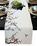 Burlap Table Runners 72 Inches Long, Japanese Flowers and Sparrows Table Runners for Dining Table Wedding Holiday Party Baby Shower Farmhouse Home Kitchen