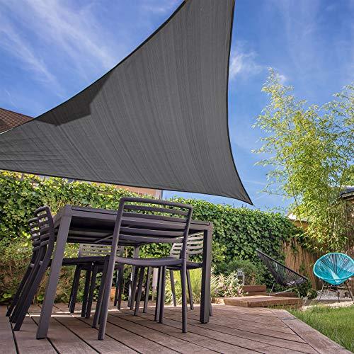 Patio Shack Toldo Vela Triangular 2x2x2 m, Vela de Sombra Triángulo Rectángulo HDPE, Transpirable, Resistente y Protección Rayos UV para Exterior, Jardín, Terrazas (Grafito)