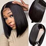 Bob Wigs Human Hair Lace Front Wigs Brazilian Virgin Human Hair 4x4 Lace Closure Bob Wigs for Black Women Pre Plucked with Baby Hair Straight Lace Front Wigs Human Hair