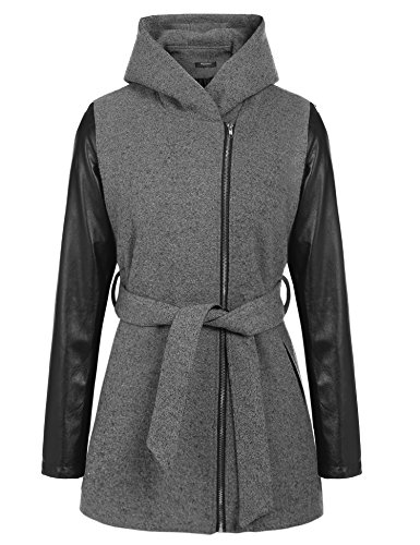 Zeagoo Damen Übergangs-Jacke Wollmantel Trenchcoat Winter Mantel Grau M