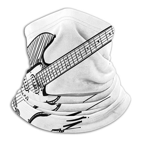 Handgetekende stijl elektrische gitaar op witte achtergrond rock muziek akkoorden schets kunst microvezel hals warmer vissen ski beschermende nek sjaal