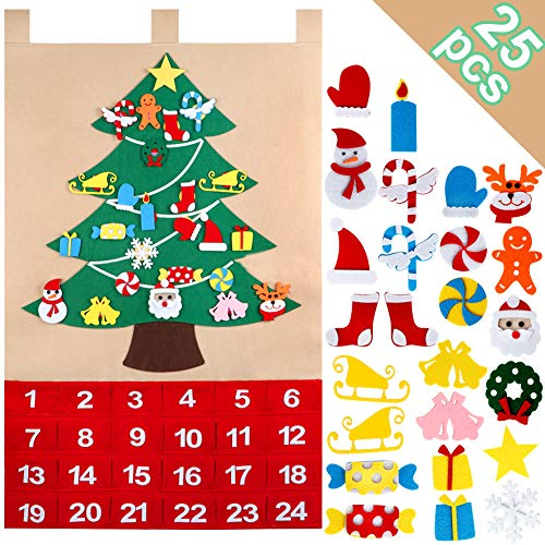OurWarm Christmas Advent Calendar 2020, 24 Days Felt Christmas Tree Advent Calendar Chocolate with Pocket 25 Christmas Ornaments for Xmas Holiday Decorations, 35x24 Inch
